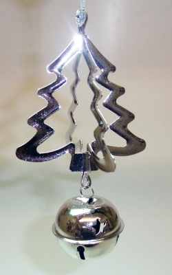 silver metal tree bell decoration