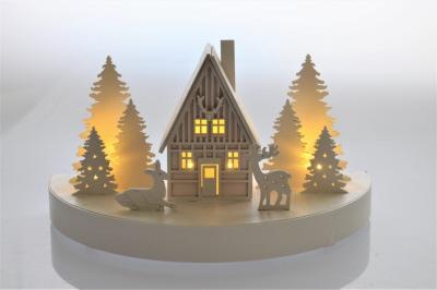 Led Wooden Christmas Village Scene